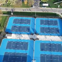 Outdoor Tennis Courts Drone View